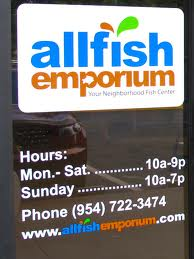 Allfish - A simple logo and schedule presented on your door in affordable vinyl offers valuable information to your customers in a professional way.