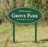 Grove Park - Think outside the box. Signage comes in many shapes and materials. Ask us what might work best for your company.