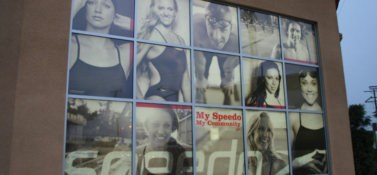 Speedo - Window signage provides privacy and promotes product all in one location.