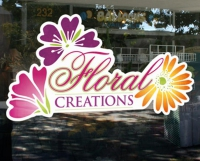 Floral Creations - Use your logo in vinyl on your store front window to drive traffic and attention in a professional, cost effective manner.