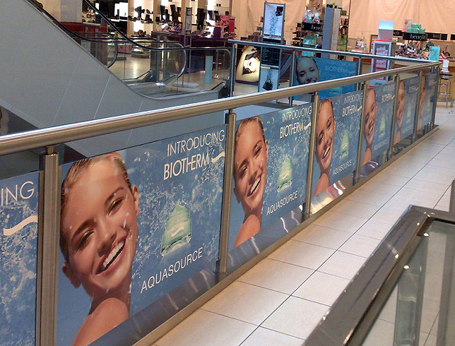 Biotherm - What we like about this sign: One message repeated over and over draws attention in a space that might otherwise be left empty.