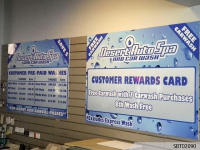 Customer Rewards Cards - What we like about this project: The company took what could have been a cluttered space along the wall and used it to promote their services and their customer rewards card. The design promotes the overall branding of the company.