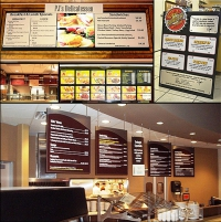 Menu Options - What we like about these projects: Every restaurant wants a unique feel and look. That's why we offer several options for menus from hanging signs to A-frames to wall signs. We also offer drive-thru and lighted signs.