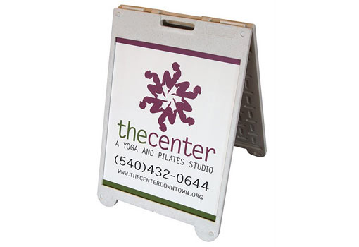 A-Frame Sign - What we like about this project: Portability means this sign can be used inside a shopping center, at a trade-show display, on a side-walk or at the entrance to the facility.